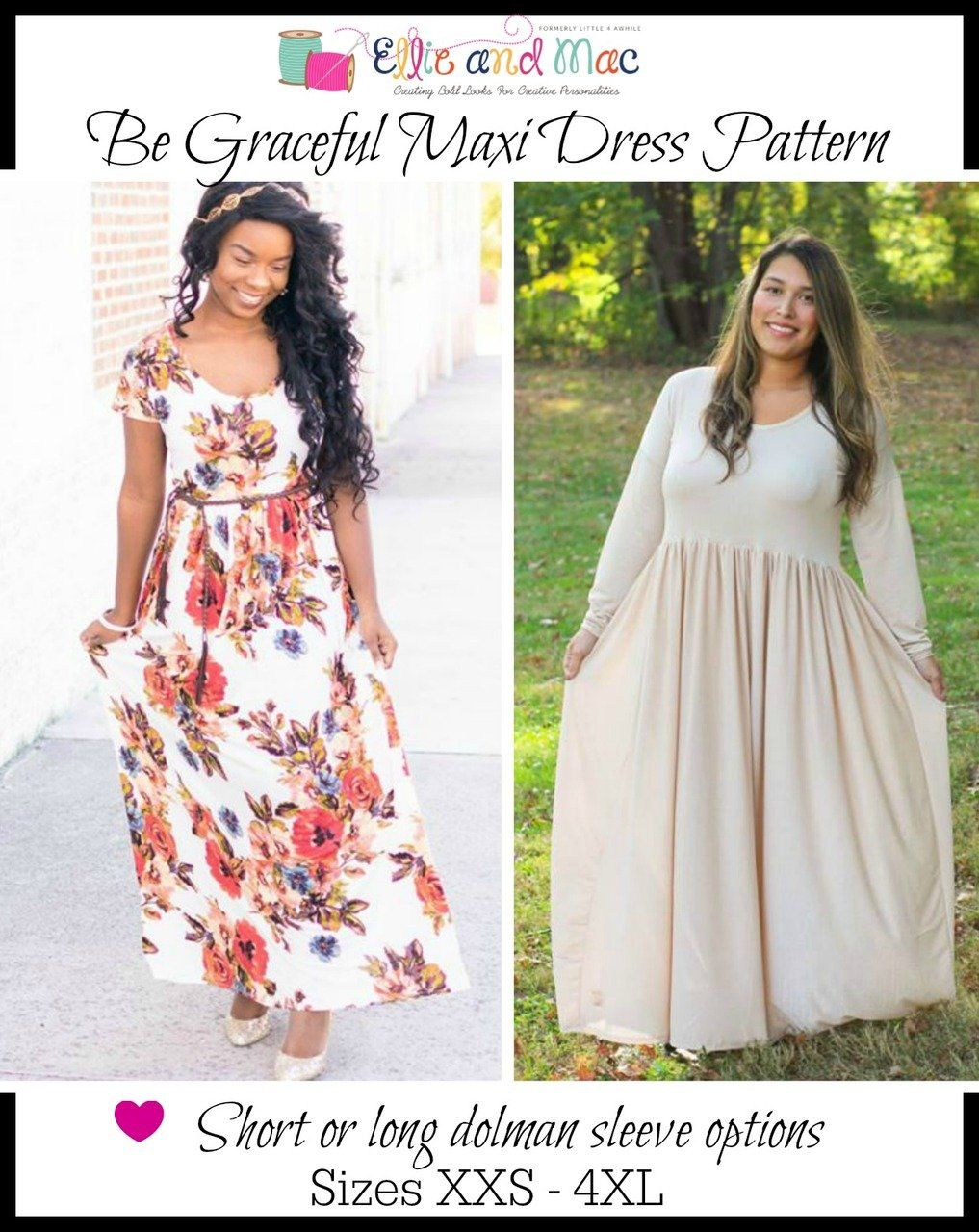 Womenus be graceful maxi dress pattern ellie and mac little a