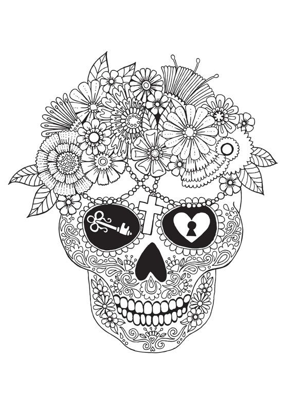 Lost Love - Colour with Me HELLO ANGEL - coloring, design, therapy, detailed, mexican, skull, Dia de los Muertos, mexican