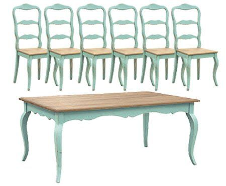 Turquoise French Dining Table Set 6 Chairs