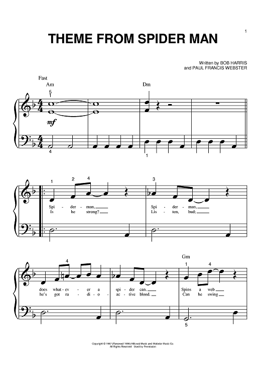 Theme From Spider Man Sheet Music Preview Page 1 Cello Sheet Music Song Sheet
