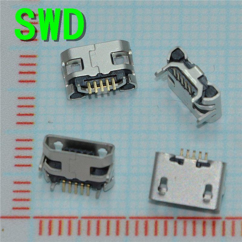 Nueva llegada mejor precio 10 unids/lote micro usb data tipo b hembra Conector Jack Plug Socket 5Pin 4 Piernas de Soldadura SMT SMD # DSC0039