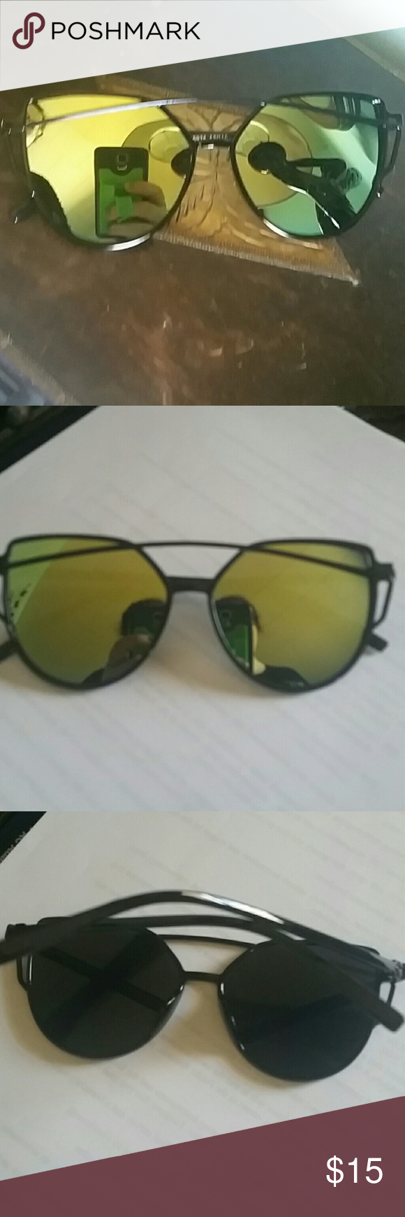 Green Mirrored Aviators Green and blue hued mirror aviator sunglasses.  Black plastic frame looks like wire. So trendy! Perfect sunnies for a spring wardrobe. coleyroleypoley Accessories Sunglasses