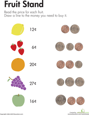 Counting Coins at the Fruit Stand | Counting money worksheets ...