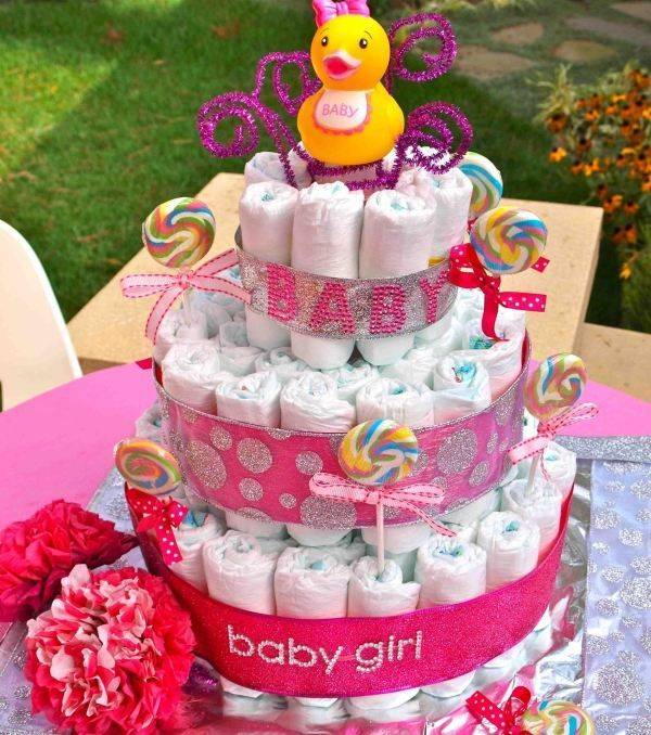 Baby shower party id es de d co et de cadeaux en 55 photos babyshower babies and nappy cake for Idee deco slaapkamer baby meisje