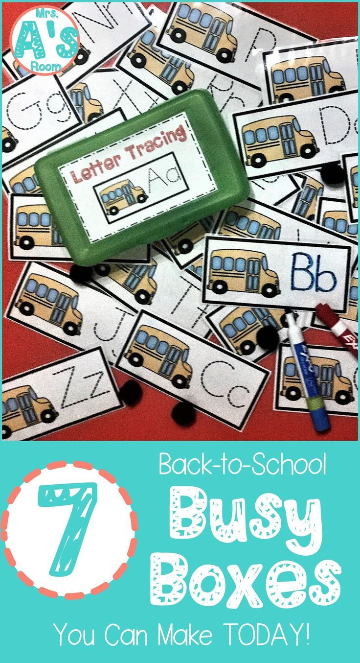 7 BacktoSchool Busy Boxes You Can Make Today! is part of Kindergarten kids, Busy boxes, Kindergarten activities, Kindergarten themes, Beginning of kindergarten, Beginning of school - These backtoschool busy boxes are ready to print, cut, and use! Your preschool and kindergarten kids will love these 7 activities!