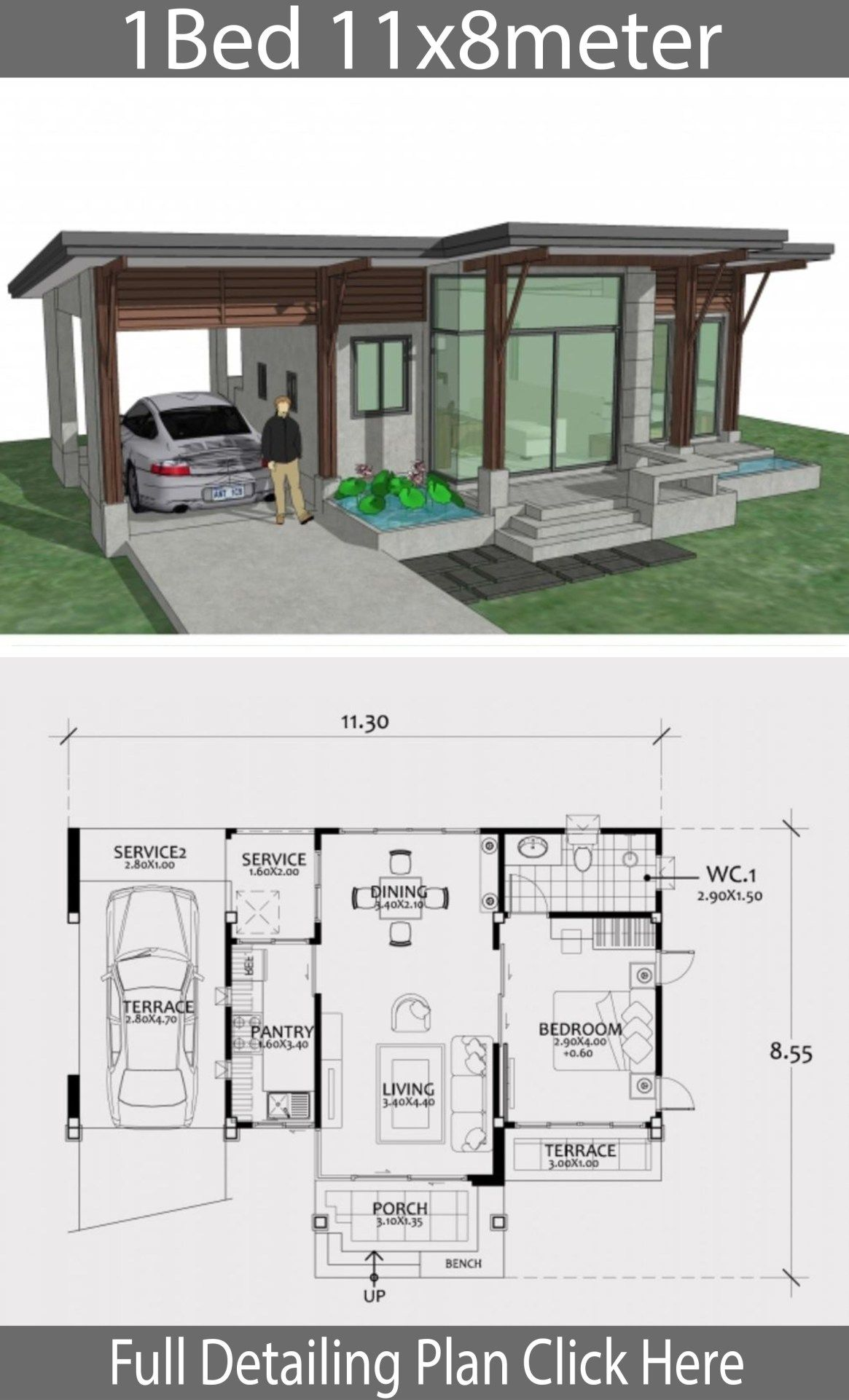Home Design Plan 11x8m With One Bedroom Home Design With