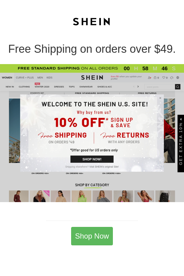 Free Shipping On Orders Over 49 Shein Shein Coupon Man Shop