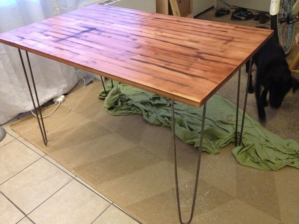 Using An Ikea Table And Adding Hairpin Legs And Restaining It Love