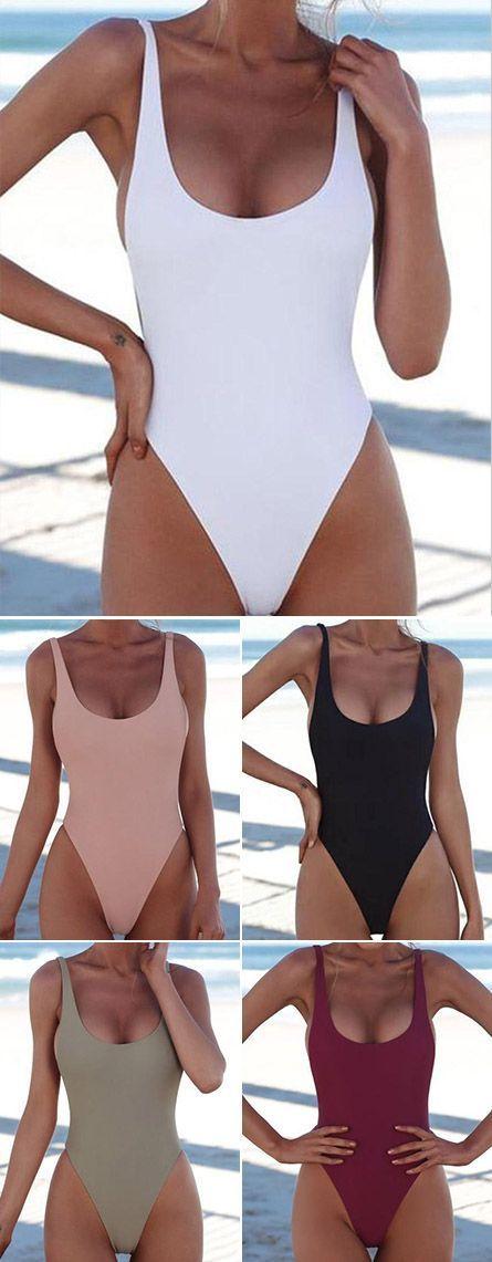 Maillot de bain: $ 27.99 2018 Chicnico Weniger ist mehr einfarbig Bikini-Frühlingsbadebekleidung für ein…