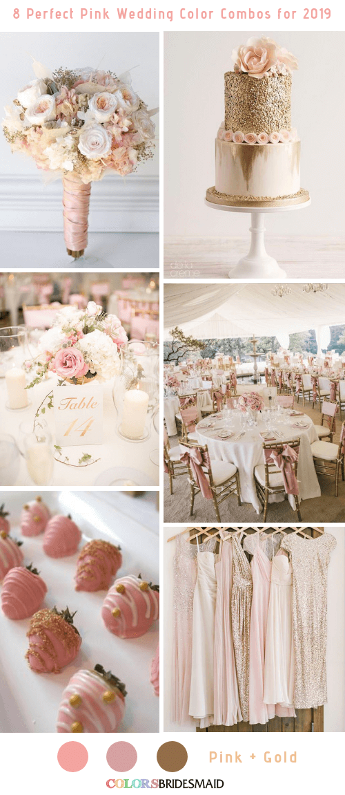 8 Perfect Pink Wedding Color Combos For 2019 Pink Wedding Colors Wedding Color Combos Pink Wedding Color Scheme