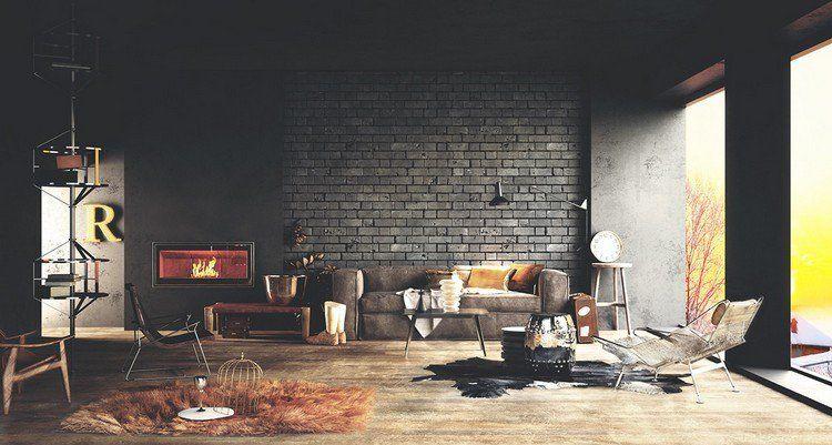 Parement mural salon et peinture artistique en 80 idées déco