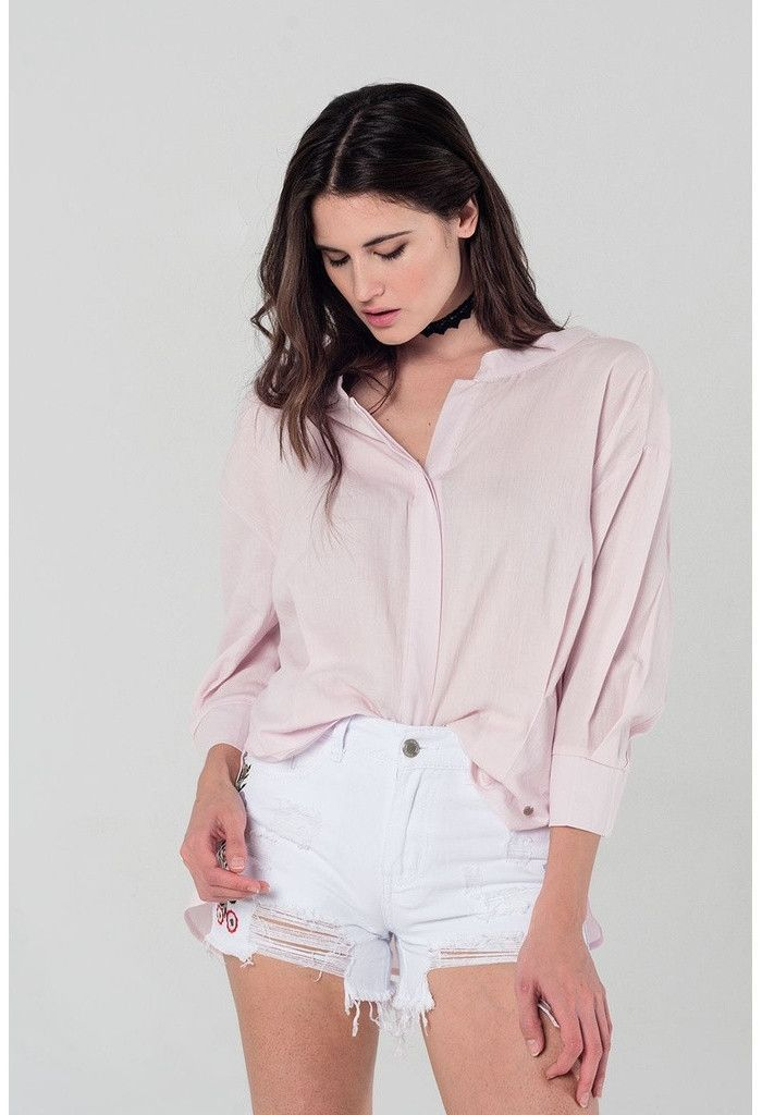 Pink shirt with back tie detail