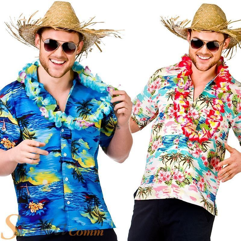 Hawaii Shirt Blue Palm Trees  Fancy Dress Stag Costume