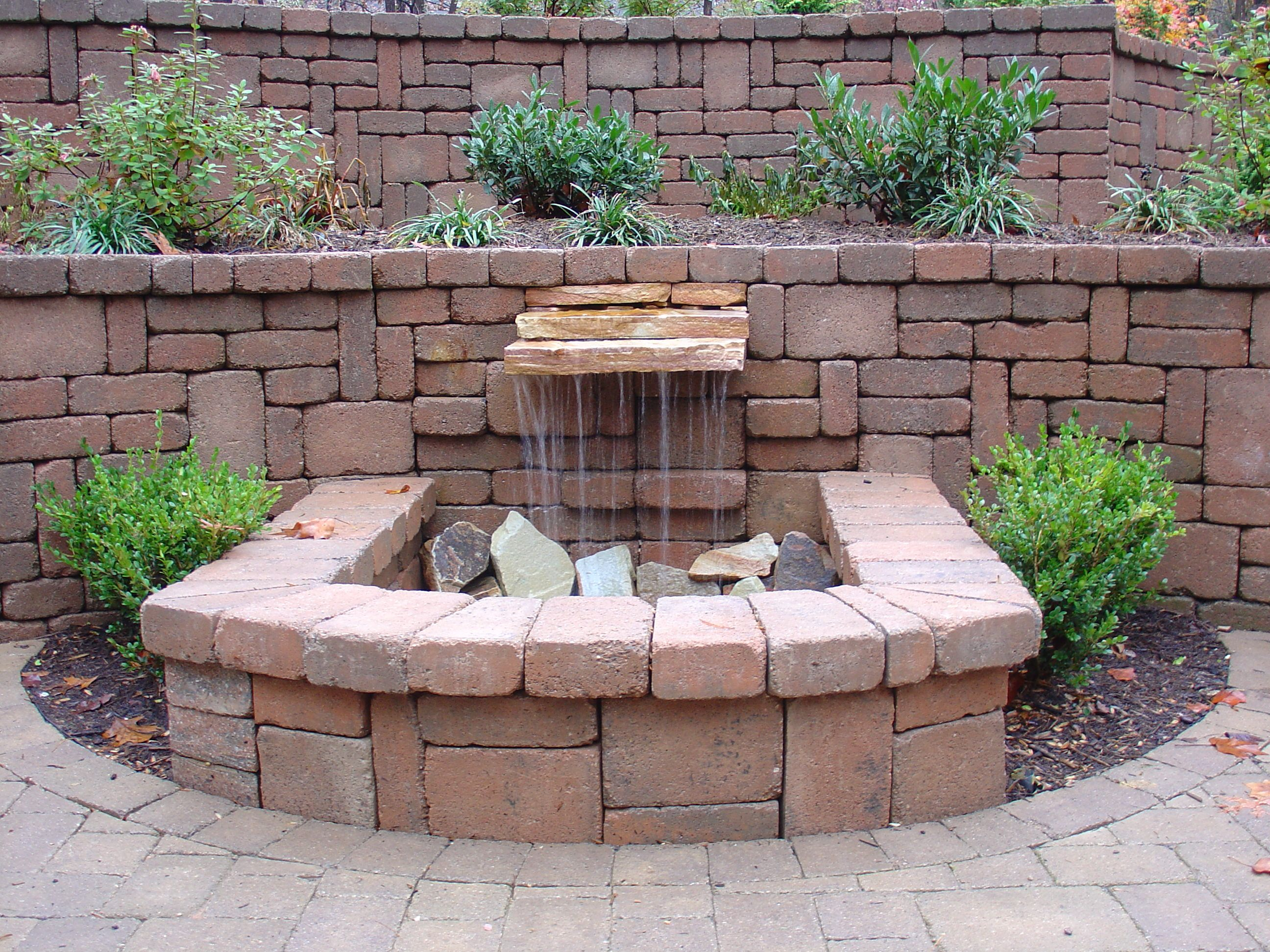 Pondless Waterfall With Brick Pavers Diy Water Feature