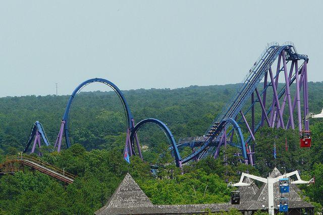 Bizarro Six Flags Great Adventure Roller Coaster Amusement Park Rides