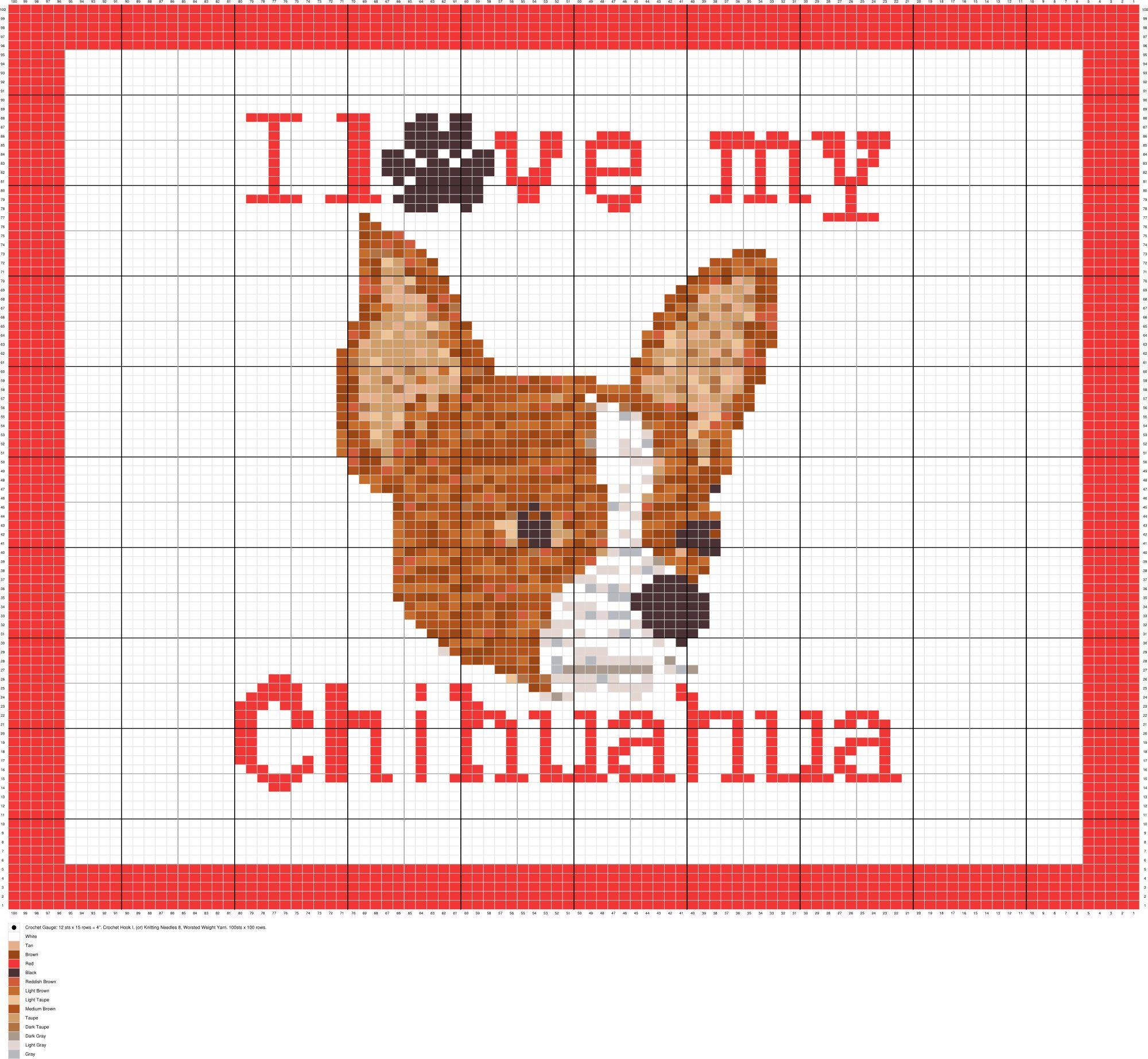 Crochet Patterns CHIHUAHUA Crochet Graph//Chart afghan pattern
