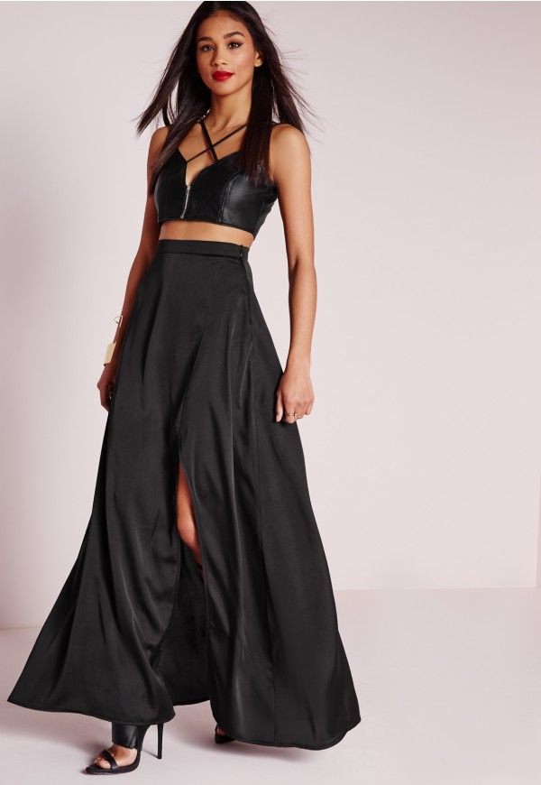 2b63147db2 Unleash your dark side in this satin maxi skirt. We LOVE how this skirt  fits and flows from top to bottom, giving you maximum sexiness and elegance.