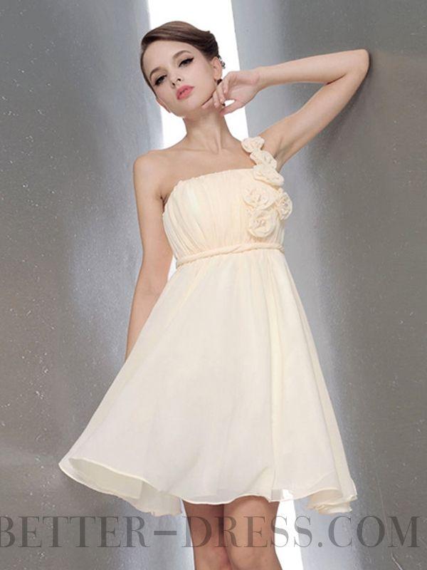 A-line One Shoulder Short / Mini Chiffon Bridesmaid Dresses
