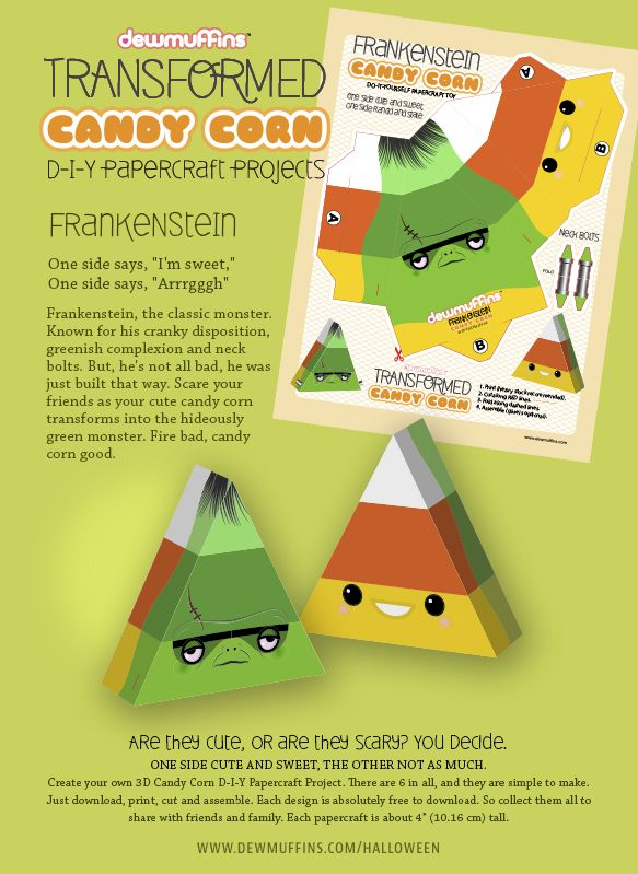 Frankenstein by Dewmuffins, Transformed Candy Corn D-I-Y Papercraft Toy. Easy to make and free to download. There are six in all. Download at http://www.dewmuffins.com/halloween #halloween #frankenstein #papercraft #candycorn