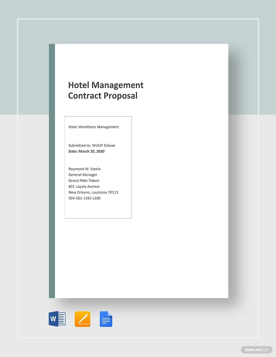 Hotel Management Contracts Proposal Template Free Pdf Word Doc Apple Mac Pages Google Docs Proposal Templates Business Proposal Template Hotel Management