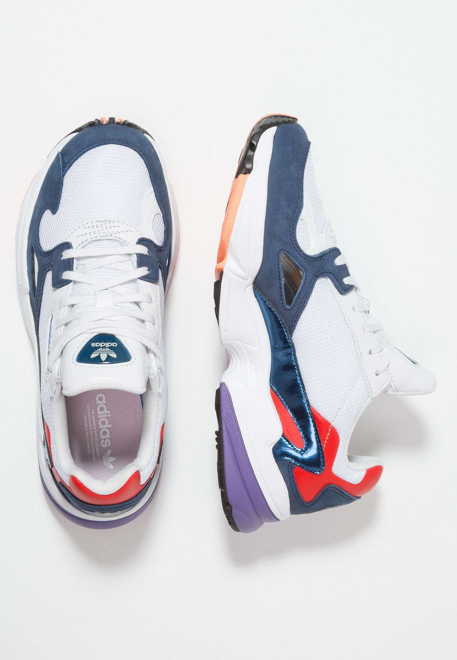 adidas Originals vit and navy Falcon sneakers in 2020