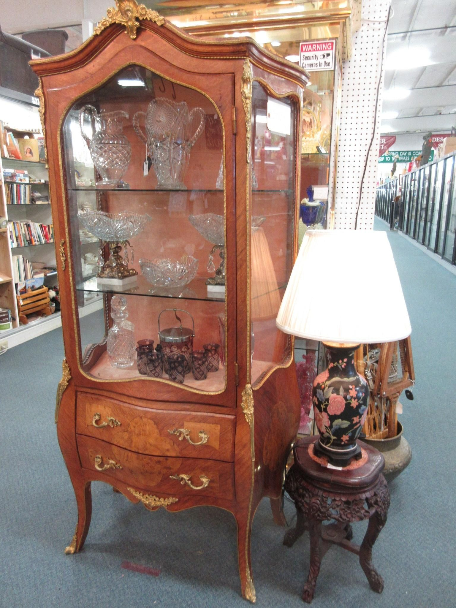 Antique early French curio cabinet. From Vendor 192. Priced at $1199.00. ~  The Brass Armadillo Antique Mall in Denver, CO. 303-403-1677 ~ - Antique Early French Curio Cabinet. From Vendor 192. Priced At