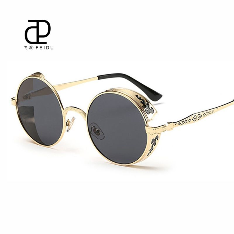 c8ee6435b2 FEIDU Fashion Steampunk Goggles Sunglasses Women Men Brand Designer Retro  Side Visor Round Sun Glasses Women