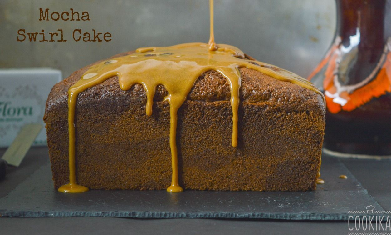 Moist and full of coffee flavor swirl cake with espresso icing.