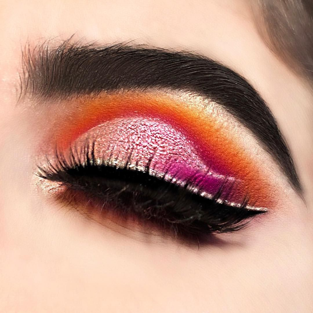 Warm Cut Crease With Glitter Liner Yellow Orange Pink Red