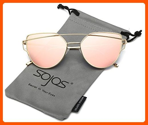 5675359958 SojoS Cat Eye Mirrored Flat Lenses Street Fashion Metal Frame Women  Sunglasses SJ1001 With Gold Frame Pink Mirrored Lens - Little daily helpers  ( Amazon ...