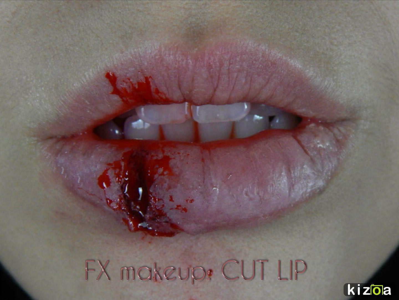 FX makeup: corte en el labio. Cut lip.