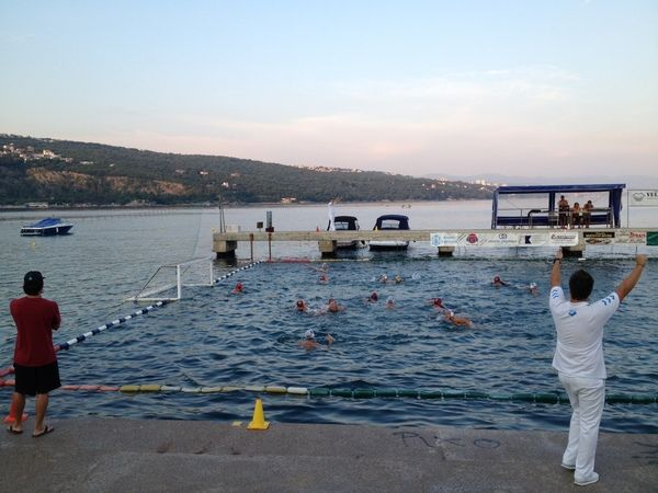 USC women's water polo scrimmaging against the Volosko Men's Club in the Adriatic Sea yesterday.  scrimmage.JPG