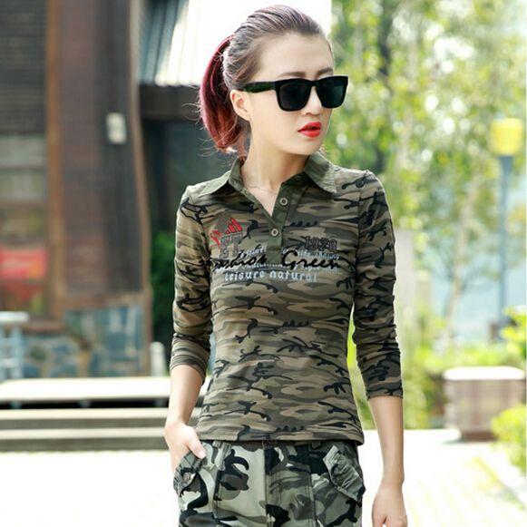 Women Camouflage Polo Shirt Long Sleeve 2017 New Fashion Cotton Camo Army  Shirt For Women Free bc0695e15