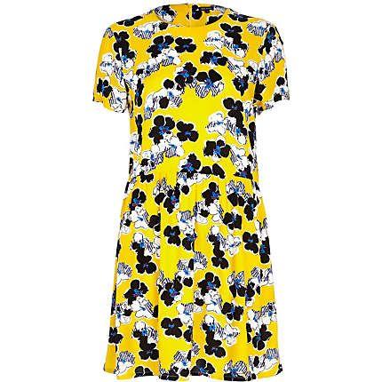 Yellow floral print smock dress $60.00