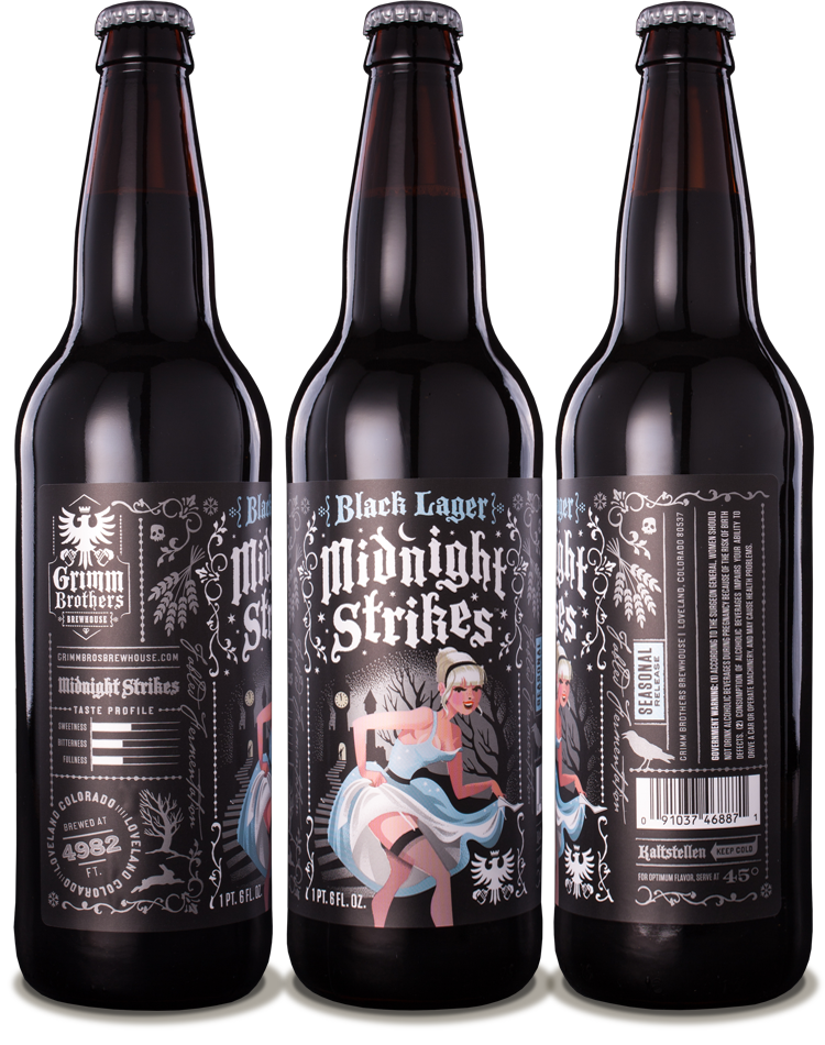 Grimm Brothers Brewhouse Midnight Strikes Black Lager - designed by Emrich Office