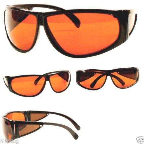 Details about Blue Buster Sunglasses Black Wrap Frame Amber Lenses ...