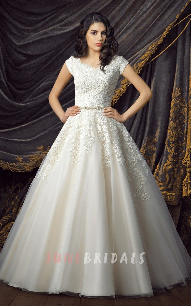 Ball gown wedding dress with sleeves  Royal Short Sleeve Ball Gown Wedding Dresses  Julieus wedding