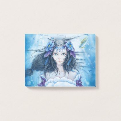 Watercolor Painting Underwater Anime Princess Post It Notes