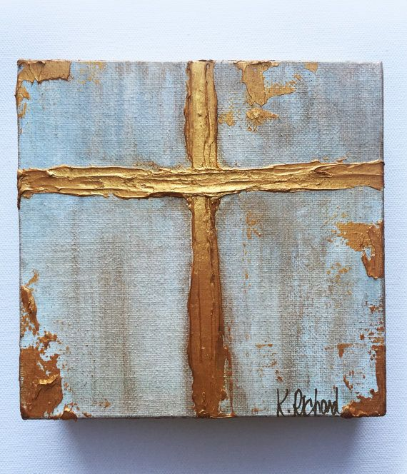 Gold Cross Knife Painting, gold leafing, hand painted -   24 diy painting gold
