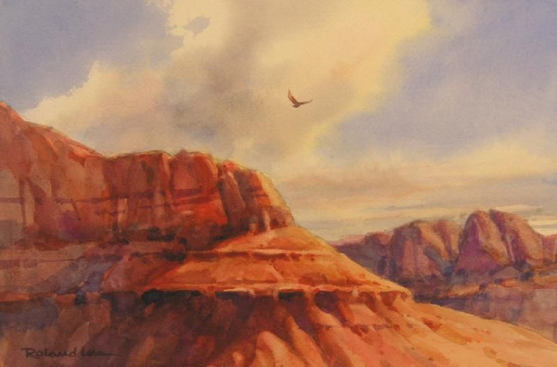 Red Mountain Mesa Original Painting By Roland Lee Of A Scene At