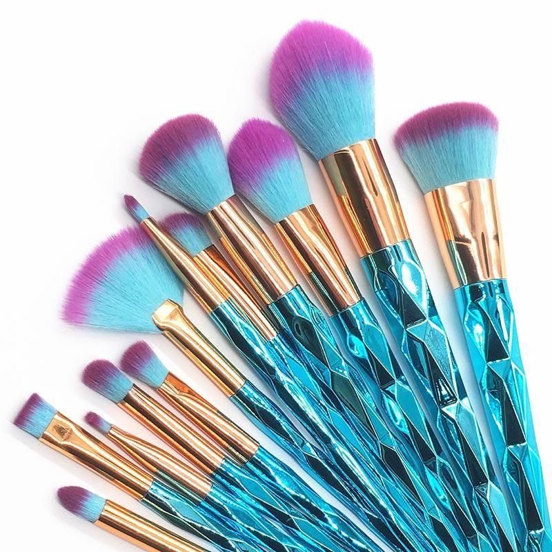 Ocean Blue Diamond Unicorn Makeup Brush Set 15 pcs These