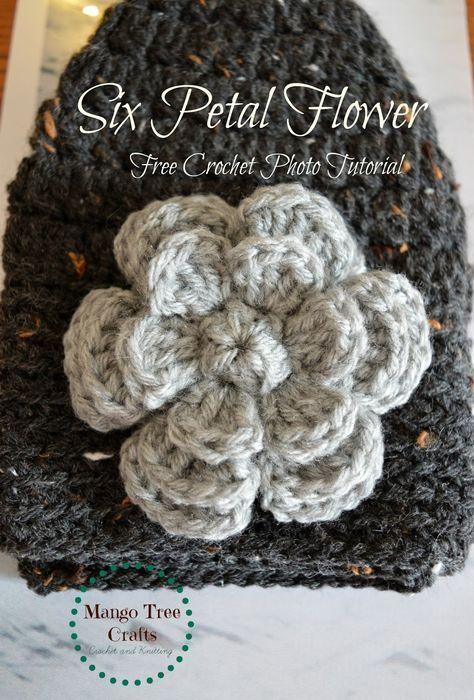 Crochet Flower Free Pattern Crochetknit Flowers Pinterest