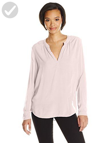 VELVET BY GRAHAM & SPENCER Women's Challis Split Neck Blouse, Pale Pink, X-Large - All about women (*Amazon Partner-Link)