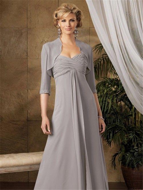 Elegant Mother Bride Dresses | Elegant A line long grey chiffon ...