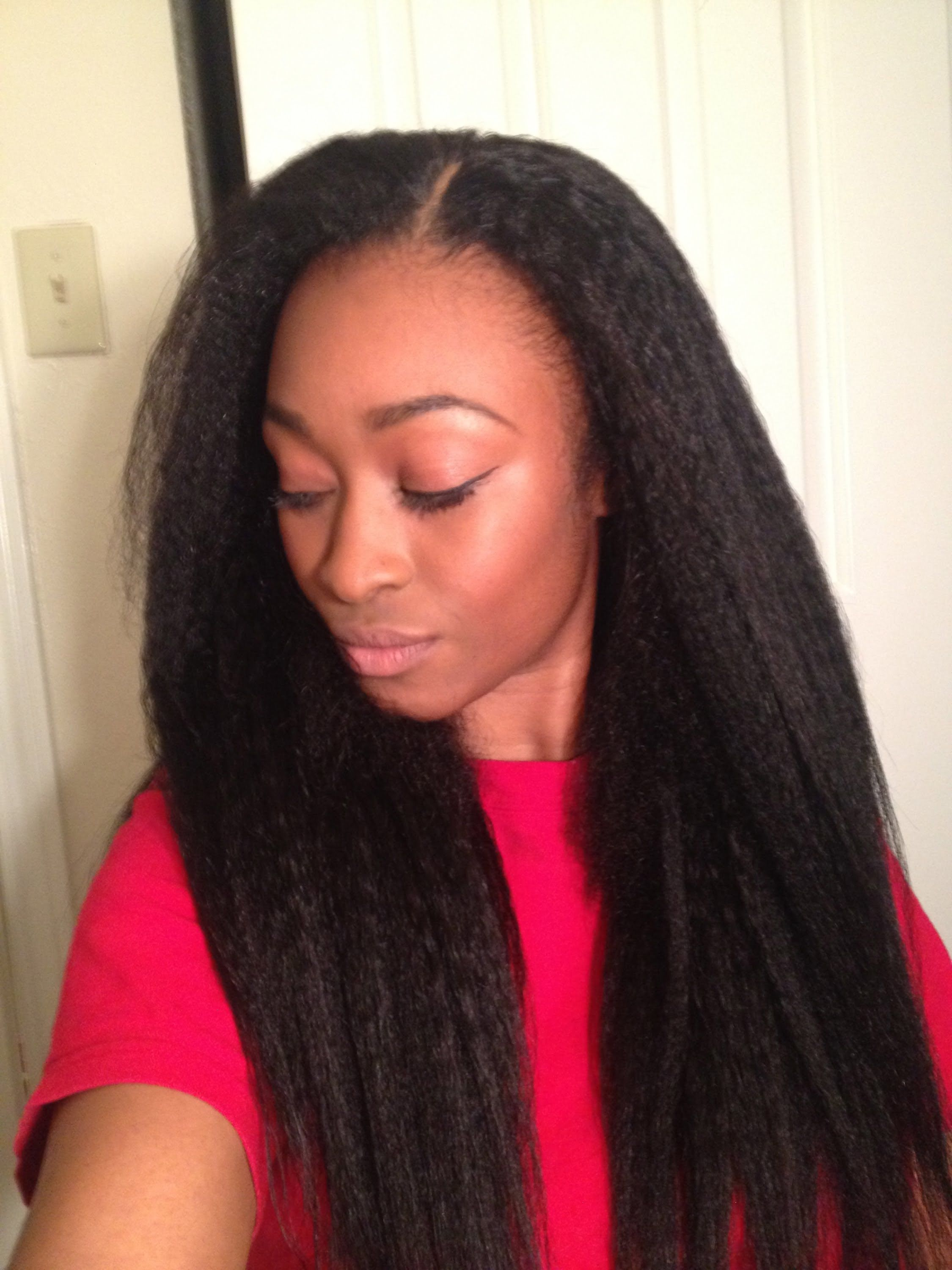 Sew In Hairstyles Long Hair Kinky Straight Weave Is So Beautiful Straight Weave And Weave