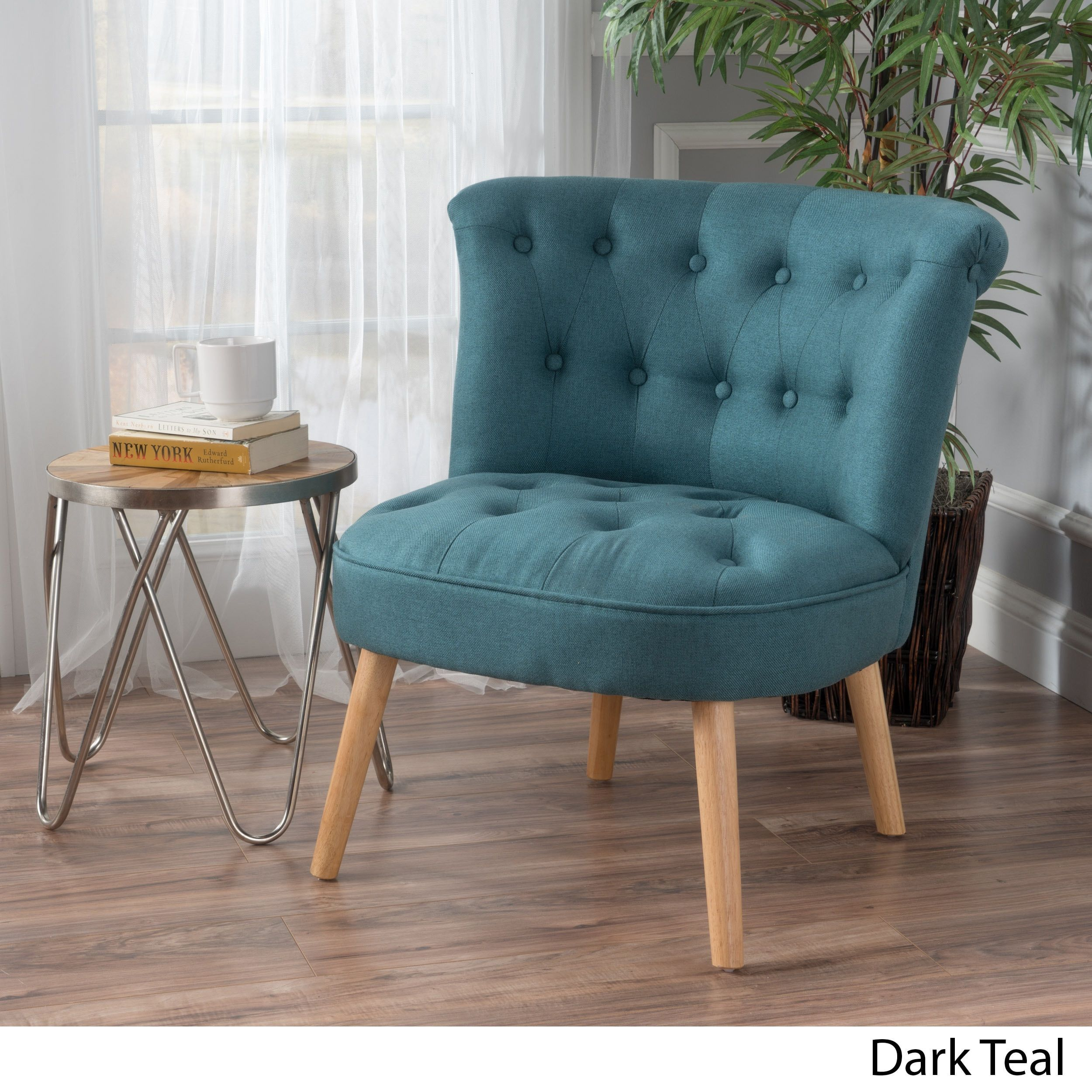 Dark Teal Accent Chair Dining Room Chairs On Wheels Cicely Tufted Fabric By Christopher Knight