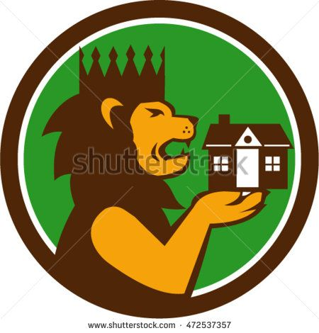Illustration of a king lion with crown holding house with its paw viewed from the side set inside circle done in retro style. #realestate #retro #illustration