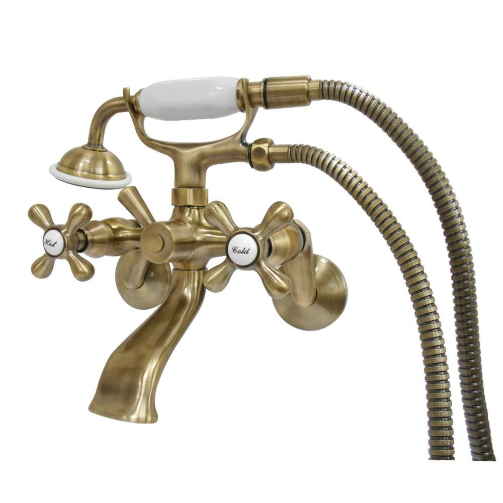 Kingston Brass Wall Mount Adjustable Centers 3 Handle Claw Foot Tub Faucet With Handshower In Antique Brass Hks266ab The Home Depot Kingston Brass Brass Faucet Tub Filler