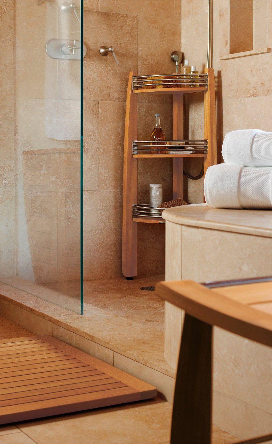 Resort Teak Corner Shelf Caddy Teak Bathroom Teak Bathroom