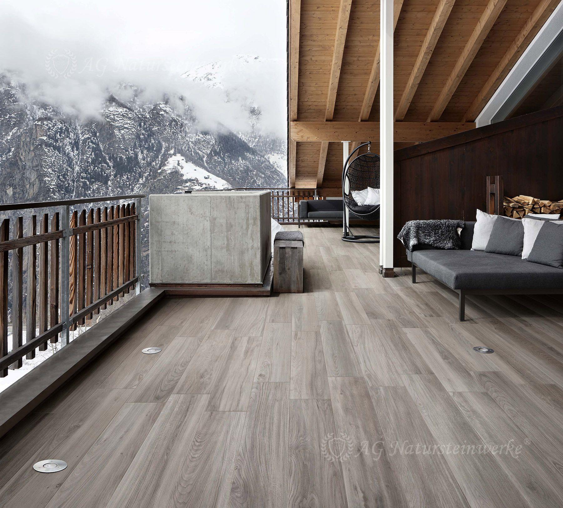 Dachterrase Mit Hüttenfeeling Durch Holzoptik Mit Cotage Carpino - Gartenplatten in holzoptik